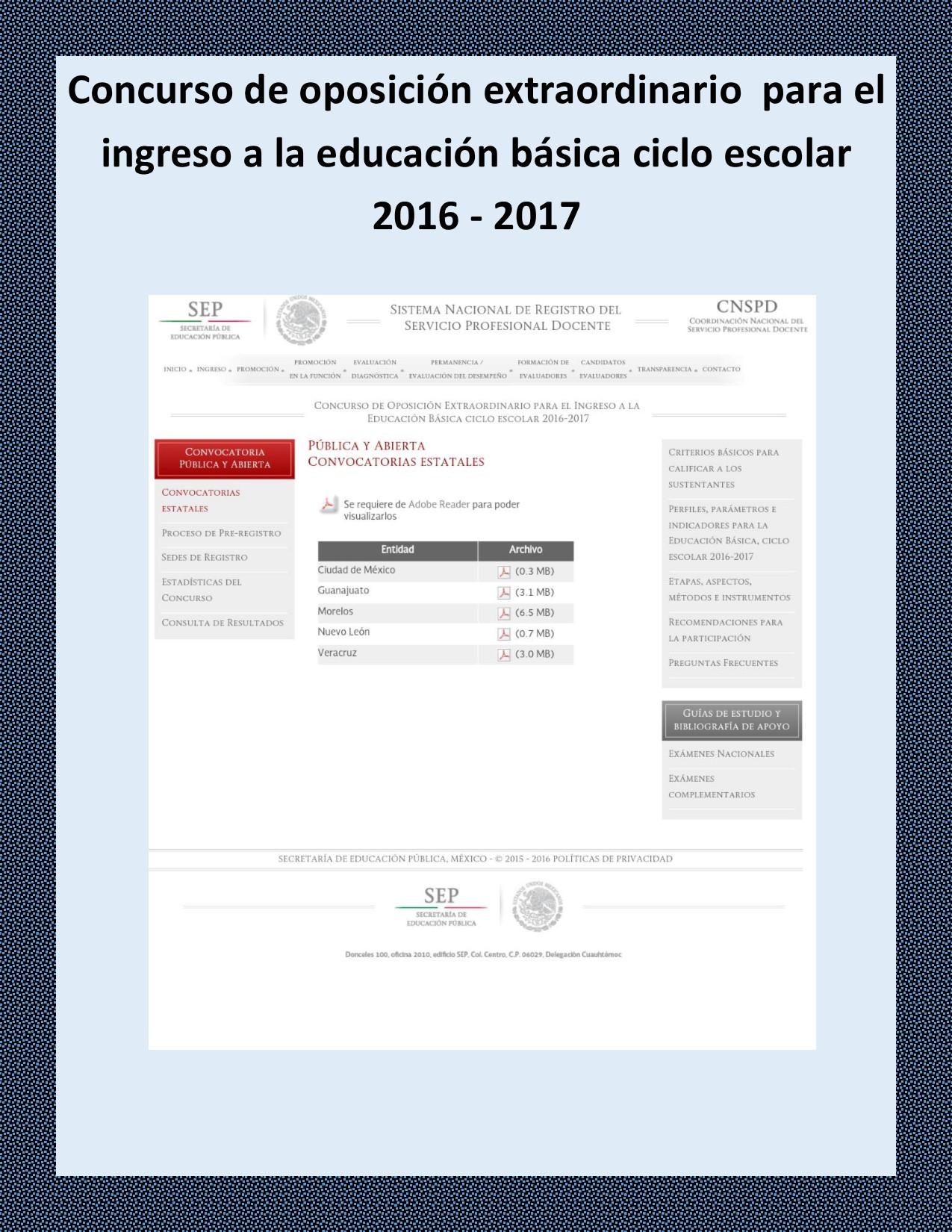 Concurso de oposici n extraordinario para el ingreso a la for Convocatoria concurso docente 2016