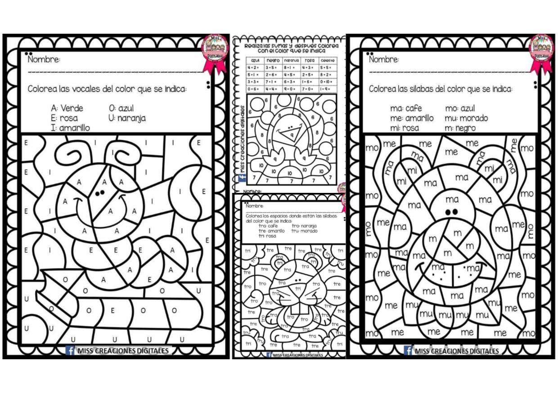 Sumas Vocales Y Sílabas Colorea Y Descubre El Dibujo Didáctica
